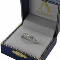 Semi Eternity Moissanite Wedding Ring Band 14K White Gold 0.65ctw