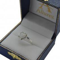 Heart Shaped White Opal Solitaire Ring in Sterling Silver (0.94ct)