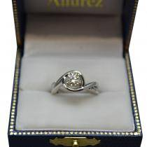 Diamond Bypass Engagement Ring Setting in 14k White Gold (0.13ct)