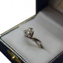 Custom-Made Diamond Bypass Bridal Set in 14k White Gold (0.13ct)