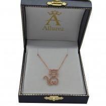 Diamond Cat Shaped Pendant Necklace 14k Rose Gold (0.27ctw)