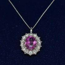 Custom-Made Oval Pink Sapphire & Diamond Pendant Necklace 18k White Gold (5.40ctw)