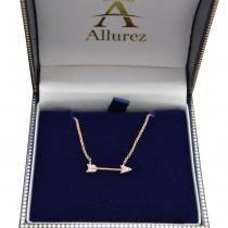 Diamond Cupid's Arrow Pendant Necklace 14k Rose Gold .04 carat