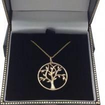Tree of Life Pendant Necklace Plain Metal 14k Yellow Gold