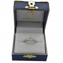 Custom-Made Vintage Heirloom Three Stone Engagement Ring 14k White Gold 1.45ct)