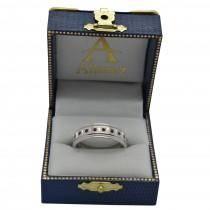 Ruby Ring for Men Wedding Band 18k White Gold (0.80ctw)