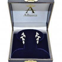 Vine Leaf Ear Cuffs Diamond Accented 14k White Gold (0.20ct)