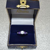 Pear Cut Three Stone Amethyst Engagement Ring 14k White Gold (0.50ct)