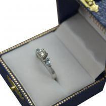 Pear Cut Three Stone Aquamarine Engagement Ring 14k White Gold (0.50ct)
