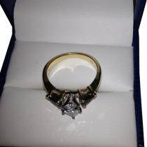 Pear Three Stone Blue Sapphire Engagement Ring 14k Yellow Gold (0.50ct)