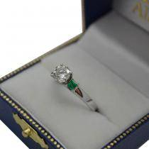 Princess Cut Diamond & Emerald Engagement Ring 14k White Gold (0.68ct)