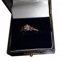 Three-Stone Ruby & Diamond Engagement Ring 14k White Gold (0.60ct)