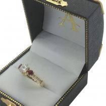 Three-Stone Ruby & Diamond Engagement Ring 14k Yellow Gold (0.60ct)