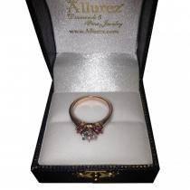 Three-Stone Ruby & Diamond Engagement Ring 18k Rose Gold (0.60ct)