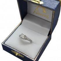 Antique Style Art Deco Diamond Engagement Ring 14K White Gold (0.33ct)