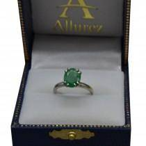 Custom Four-Prong Oval Emerald 14k White Gold Solitaire Engagement Ring 2.00 CT