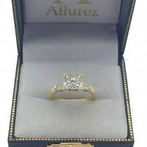 Three Stone Baguette Diamond Engagement Ring 18K Yellow Gold (0.20ct)
