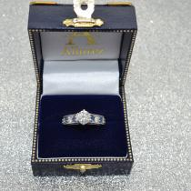 Vintage Diamond and Sapphire Engagement Ring 18k White Gold (1.41ct)