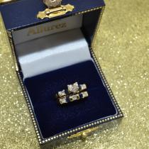 5 Stone Diamond & Blue Sapphire Bridal Set 14K Yellow Gold 1.02ct