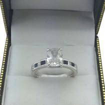 Channel Citrine & Diamond Engagement Ring 14k White Gold (0.60ct)
