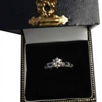 Channel Citrine & Diamond Engagement Ring 14k White Gold (0.60ct)