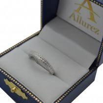 Vintage Carved Filigree Leaf Design Wedding Band in 18k White Gold