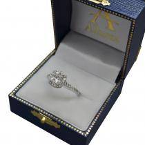 Cathedral Halo Cushion Diamond Engagement Ring 14K White Gold (0.60ct)