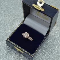 Halo Cushion Diamond Engagement Ring Bridal Set 14k Rose Gold (1.07ct)