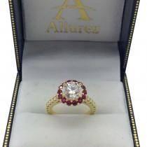 Round Halo Diamond & Ruby Engagement Ring 18K Yellow Gold (1.16ct)
