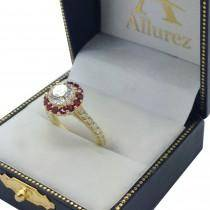 Round Halo Diamond & Ruby Engagement Ring 18K Yellow Gold (1.16ct)