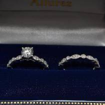 Petite Marquise & Dot Diamond Bridal Ring Set in 14k White Gold (0.25ct)