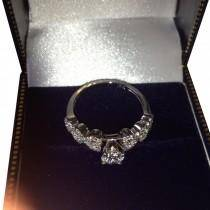 Pink Sapphire & Diamond Heart Engagement Ring Set 14k W. Gold 0.50ct
