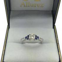 Floral Diamond and Sapphire Engagement Ring Palladium (0.30ct)