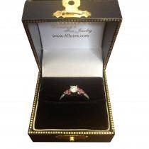 Floral Pink Sapphire & Diamond Engagement Ring Palladium (0.30ct)