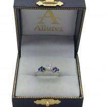 Designer Blue Sapphire Floral Engagement Ring 18k White Gold (0.35ct)