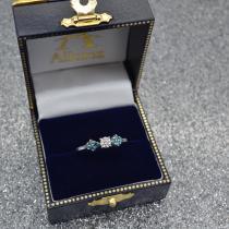 Designer Blue Diamond Floral Engagement Ring 14k White Gold (0.24ct)