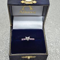 Petite Diamond & Ruby Engagement Ring Palladium (0.15ct)