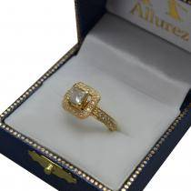 Milgrain Halo Princess Diamond Engagement Ring 14k Yellow Gold (1.00ct)