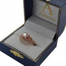 Butterfly Milgrain Diamond Ring & Wedding Band 14K Rose Gold (0.40ct)