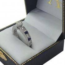 Antique Diamond & Blue Sapphire Engagement Ring 14k White Gold (0.75ct)