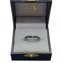 Princess-Cut Blue Sapphire Eternity Ring Band 14k White Gold (1.36ct)
