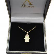 Diamond Hamsa Pendant Necklace 14k Yellow Gold (0.16ct)
