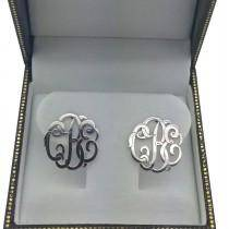 Personalized Monogram Post-Back Stud Earrings in 14k White Gold