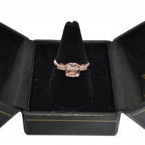 Cushion Cut Morganite Ring with Diamonds Rose Gold Vermeil 1.37ctw