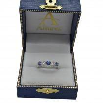 Five Stone Blue Sapphire & Diamond Ring 14k White Gold (1.00ctw)