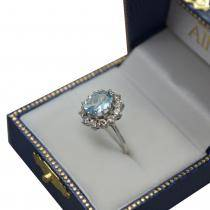 Oval Aquamarine & Diamond Accented Ring in 14k White Gold (3.60ctw)