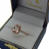 Cushion Cut Morganite and Diamond Halo Ring 14K Rose Gold 2.00ct