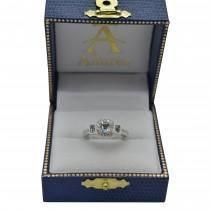 Blue Sapphire & Diamond Engagement Ring 14k White Gold (1.35ctw)