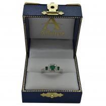 Emerald & Diamond Engagement Ring in 14k White Gold (1.35ctw)