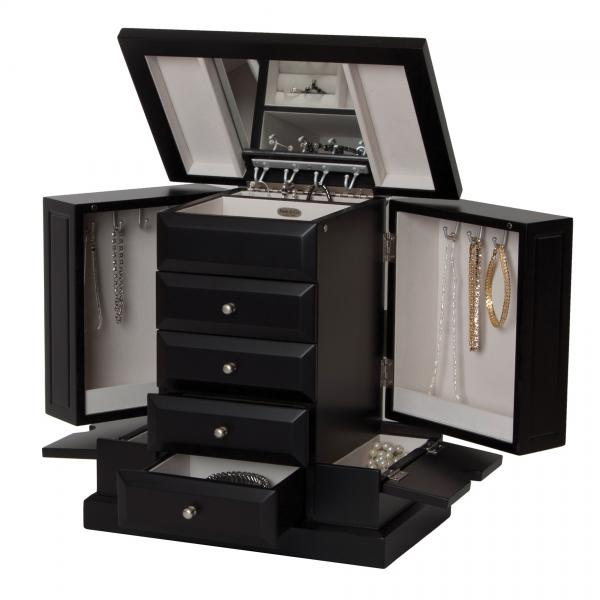 Upright Wooden Jewelry Box, Java Finish, Ring Rolls, Necklace Hooks